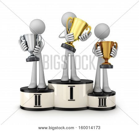 Three trophy cups and podium on white background. 3d illustration