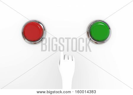 Hand is ready to do choice on what press button Hand and buttons 3d illustration