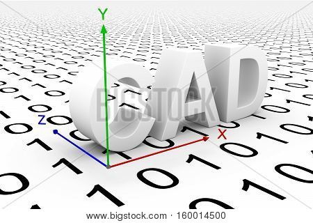 CAD modeling axis binary code 3d illustration