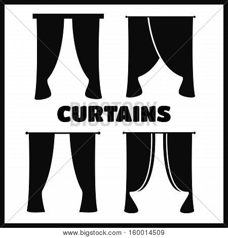 Vector black curtain icons on white background. Curtains collection