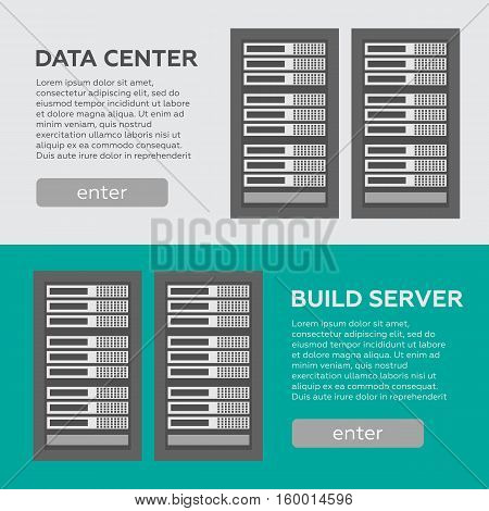Data center and hosting banners set. Network internet database vector
