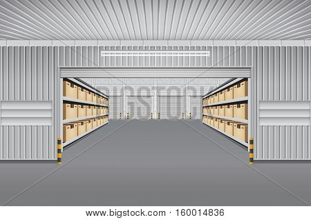Interior of warehouse building with cargo container box on shelves.