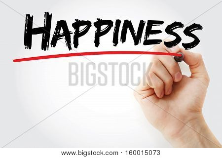 Hand Writing Happiness With Marker