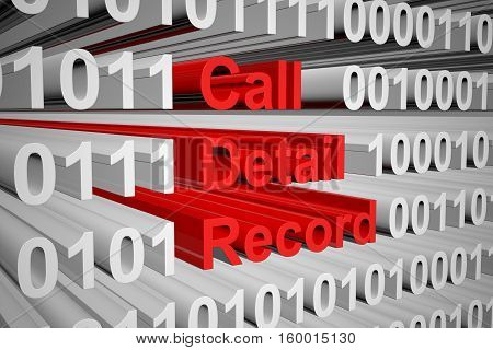 Call Detail Record in a binary code 3D illustration