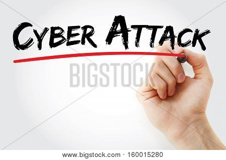 Hand Writing Cyber Attack With Marker