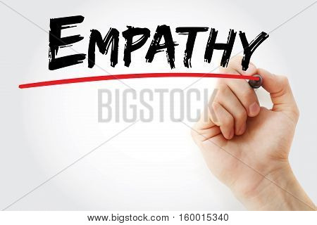 Hand writing Empathy with marker concept background