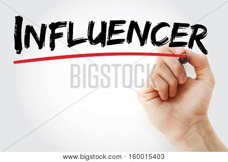 Hand Writing Influencer With Marker