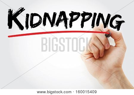 Hand Writing Kidnapping With Marker