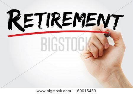 Hand Writing Retirement With Marker