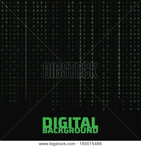 Binary code black and white background with digits on screen. Algorithm binary data code vector