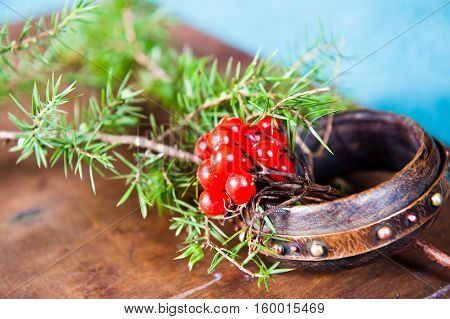 Winter scene with fresh green branches of pine, holly, juniper, cones, star, red berries of barberry in natural wooden planter on bark weathered background, outdoors and space, daylight