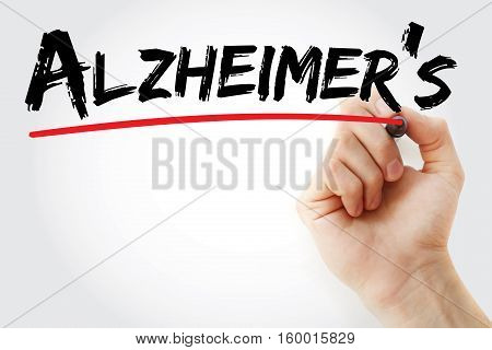 Hand Writing Alzheimer's With Marker