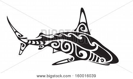 Ornamental decorative shark tattoo. Creative sticker for design. Vector illustration
