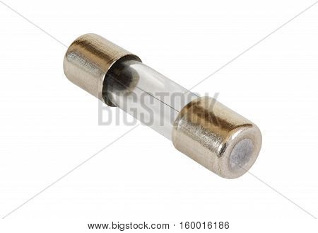 Electrical fuse in glass capsule shape isolated on white background. Macro shot.
