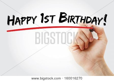 Hand Writing Happy 1St Birthday With Marker