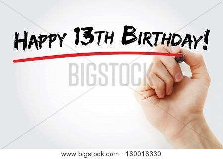Hand Writing Happy 13Th Birthday With Marker