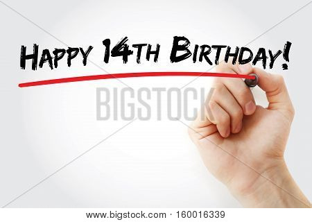 Hand Writing Happy 14Th Birthday With Marker