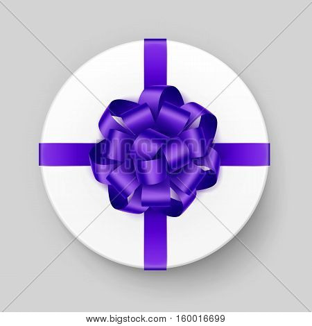 Vector White Round Gift Box with Shiny Purple Violet Bow and Ribbon Top View Close up Isolated on Background