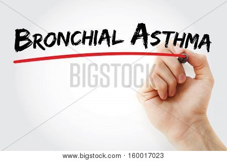Hand Writing Bronchial Asthma With Marker