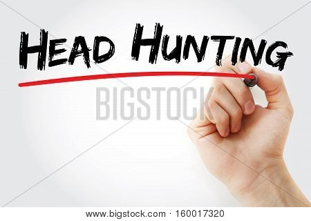 Hand Writing Head Hunting With Marker