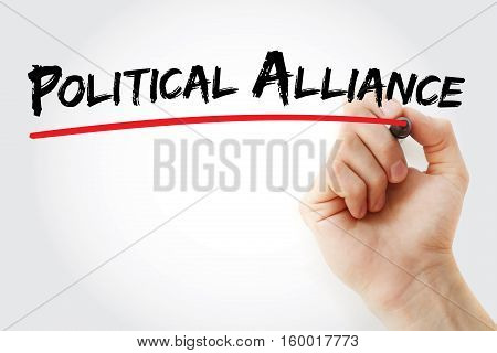 Hand Writing Political Alliance With Marker