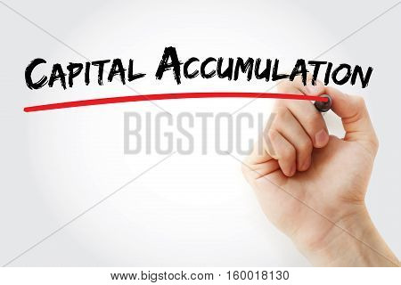 Hand Writing Capital Accumulation With Marker