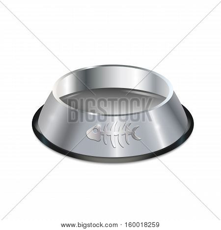 Pet dish. Empty metallic cat plate. Chrome shiny food bowl with fish bone. Isolated pet supply. Black edging. Vector EPS10 realistic illustration.