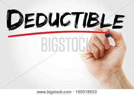 Hand Writing Deductible With Marker