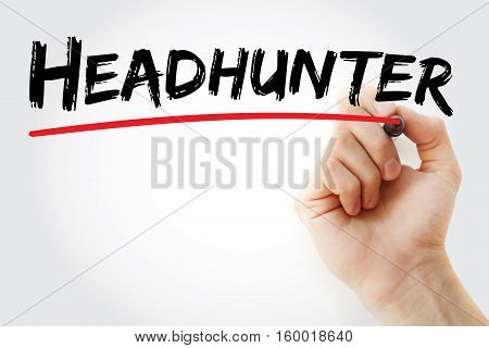Hand Writing Headhunter With Marker