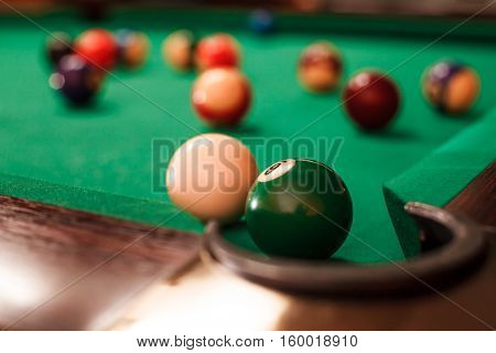 Above view on two billiard balls.