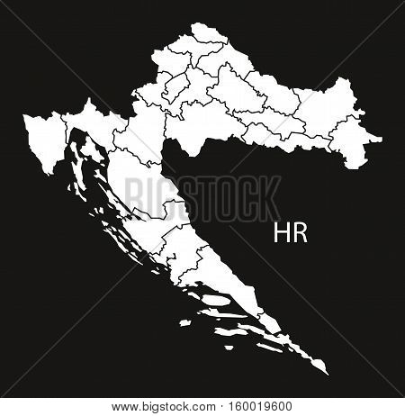 Croatia counties Map black white country silhouette illustration
