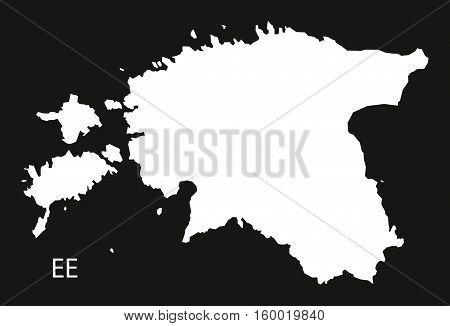 Estonia Map black white country silhouette illustration
