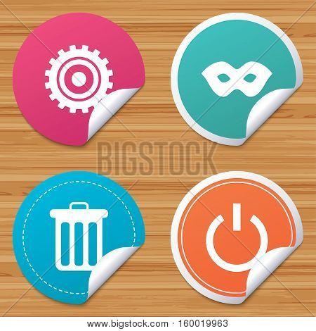Round stickers or website banners. Anonymous mask and cogwheel gear icons. Recycle bin delete and power sign symbols. Circle badges with bended corner. Vector