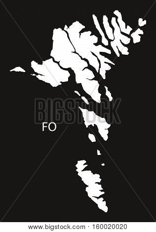 Faroe Islands Map black white country silhouette illustration