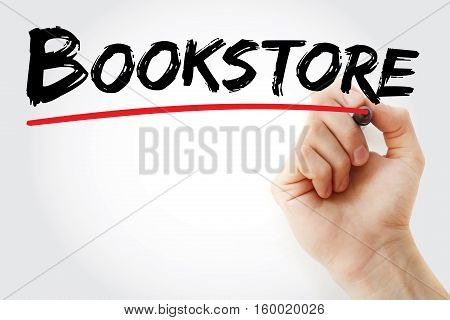 Hand Writing Bookstore With Marker