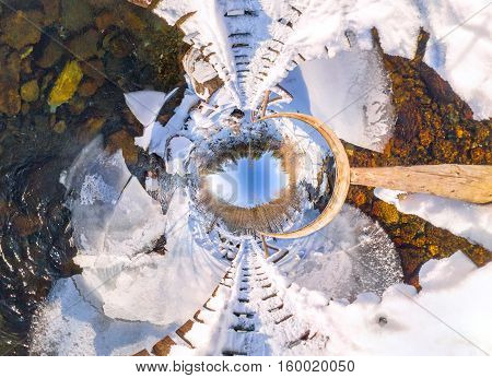Spherical Panorama 360 Wooden Bridge Over A River In The Winter Forest