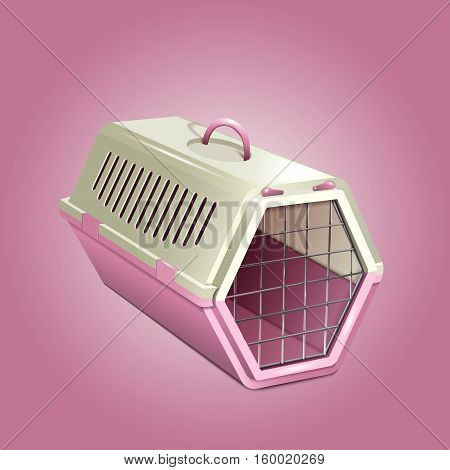 Cat carrier. Pink and beige cat cage. Empty pet kennel on pink background. Vector EPS10 realistic illustration of pet supply.