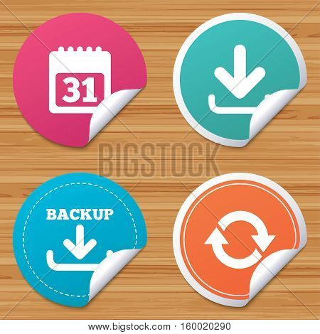 Round stickers or website banners. Download and Backup data icons. Calendar and rotation arrows sign symbols. Circle badges with bended corner. Vector