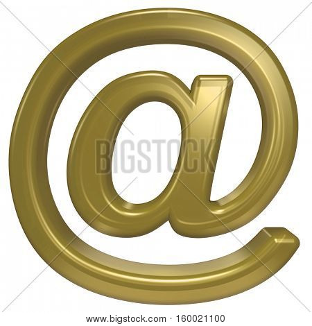 E-mail sign from gold glass alphabet set, isolated on white. 3D illustration.