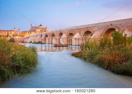 Great Mosque Mezquita - Catedral de Cordoba and Roman bridge across Guadalquivir river during morning blue hour, Cordoba, Andalusia, Spain