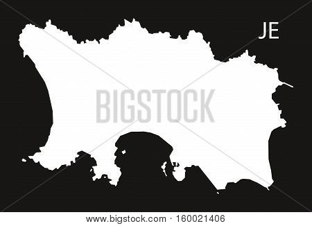 Jersey Map black white country silhouette illustration