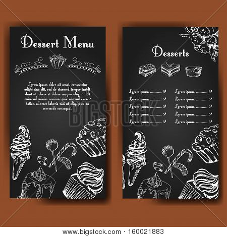 Template for dessert menu with sweet tasty cakes. Hand drawn design for poster restaurant menu. Bakery sketch background