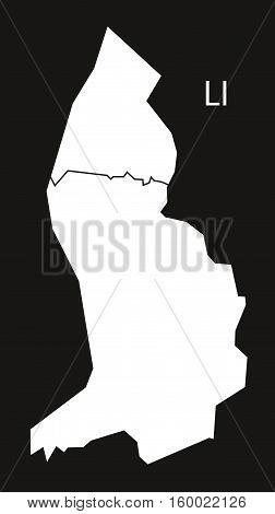 Liechtenstein districts Map black white country silhouette illustration
