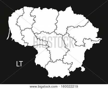 Lithuania counties Map black white country silhouette illustration