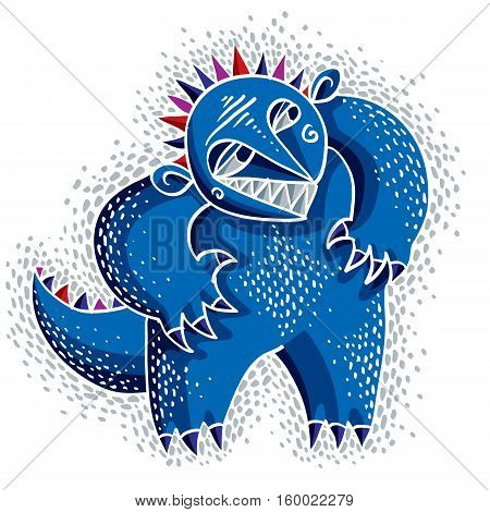 Character Bizarre Monster Vector Flat Illustration, Cute Blue Mutant. Drawing Of Weird Beast, Emotio