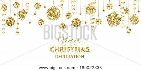 Christmas banner with glitter golden decoration. Hanging christmas balls and ribbons isolated on white. Great for christmas cards, party posters, banners, flyers, headers. Eps10 vector illustration.