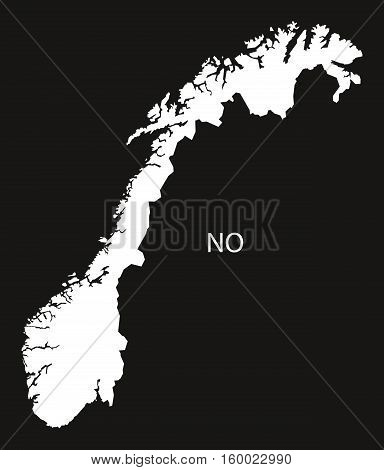Norway Map black white country silhouette illustration