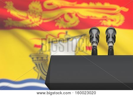 Pulpit And Two Microphones With Canadian Province Flag On Background - New Brunswick