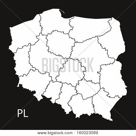 Poland regions Map black white country silhouette illustration