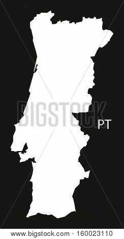 Portugal Map black white country silhouette illustration
